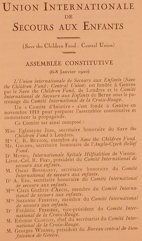 AEG, Archives de l'Union internationale de secours aux enfants, 2.1