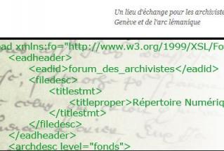 Forum des archivistes genevois, détail du logo