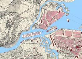 Reconstitution du projet d'île industrielle par G. H. Dufour (1848) sur la base de la carte Mayer de 1822 (BGE)