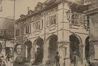 Dessin de l'Ancien Arsenal, rue de l'Hôtel-de-Ville1