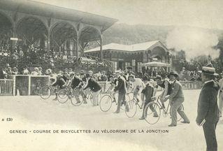 Course cycliste au vélodrome de la Jonction (Almanach du Vieux-Genève, 1943)