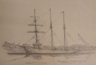 A.P. 349.10.1, dessin au crayon d'un bateau à Saint-Malo, sans date