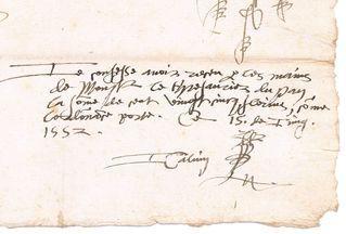 Mandat de Calvin, 15 juin 1522, détail