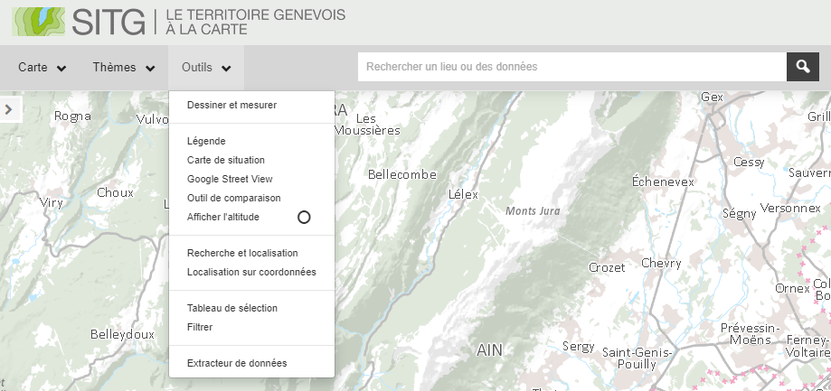 Carte interactive du SITG